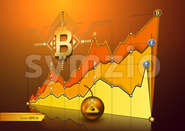 Digital vector bitcoin cryptocurrency chart diagram graphic payments money transfer Stock Vector
