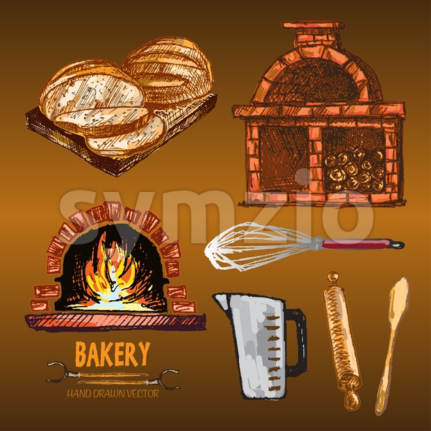 Digital color vector red brick oven with woods on fire, measuring cup, round sliced bread, rolling pin, wooden paddle, whisk hand drawn set. Vintage Stock Vector