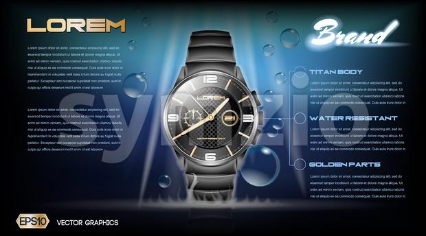 Digital vector dark silver classic watch mockup Stock Vector
