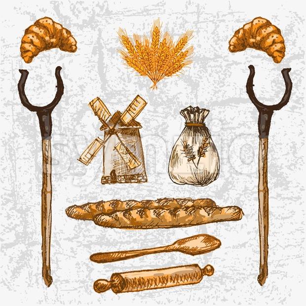 Digital color vector detailed line art golden loaves of baguettes, croissants, oven forks, rolling pin and wooden paddle hand drawn set. Vintage ink Stock Vector