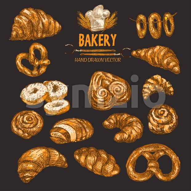 Digital color vector detailed line art golden rolls, donuts, pretzels, bagels on string, pig ears, croissants, wheat, oven forks and chef hat hand Stock Vector