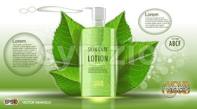Digital vector green glass skin care lotion Stock Vector