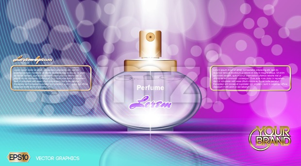 Digital vector purple and blue glass perfume Stock Vector