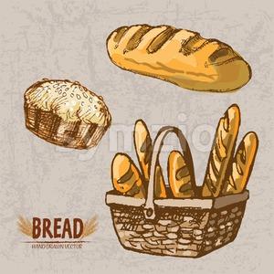 Digital color vector detailed line art golden loaf of bread and pie with sesame, baguettes in wooden basket hand drawn retro set. Vintage ink flat, Stock Vector