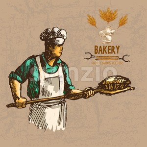 Digital color vector detailed line art baker in cyan shirt with chef hat holding a wooden paddle with bread on it hand drawn illustration set. Vintage Stock Vector
