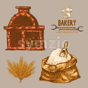 Digital color vector detailed line art golden flour sack with scoop and red brick oven with woods prepared for fire, wheat hand drawn illustration Stock Vector