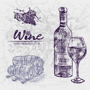 Digital color vector detailed line art wine bottle and glass, stacked wooden barrels and black grape bunch with leaves hand drawn illustration set. Stock Vector