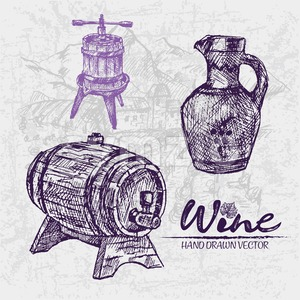 Digital color vector detailed line art wooden barrel with tap, pitcher and wine press hand drawn illustration set. Thin pencil artistic outline. Stock Vector