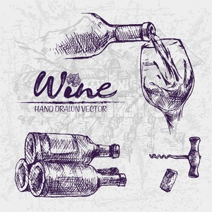 Digital color vector detailed line art wine pouring from bottle to glass, stacked and corkscrew hand drawn illustration set. Thin artistic outline. Stock Vector