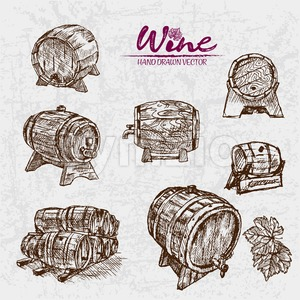 Digital color vector detailed line art wine barrels of different sizes and shapes hand drawn retro illustration set. Thin pencil artistic outline. Stock Vector