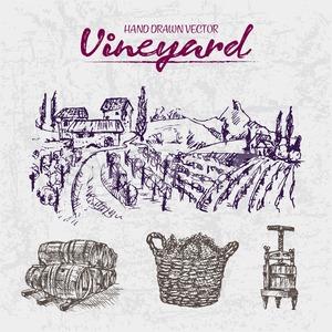 Digital color vector detailed line art purple wooden stacked wine barrels, basket and wine press hand drawn illustration set outlined. Vintage ink Stock Vector