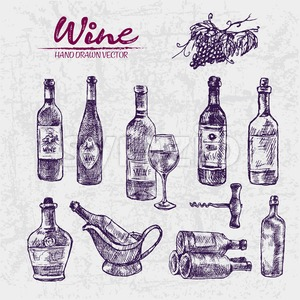 Digital color vector detailed line art different shapes of wine bottles, glass half full, stacked, ice bucket, pitcher and corkscrew hand drawn set. Stock Vector
