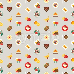 Digital vector breakfast meal fresh food and drinks color simple flat icon set with coffee eags, fruits and sweet cakes, seamless pattern, isolated Stock Vector
