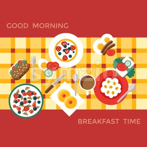 Digital vector breakfast meal fresh food and drinks color simple flat icon set with coffee eags, fruits and sweet cakes, isolated infographics Stock Vector
