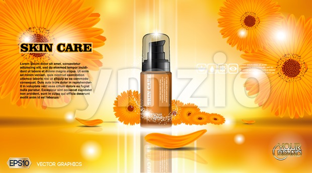Cosmetic ads template mockup Stock Vector