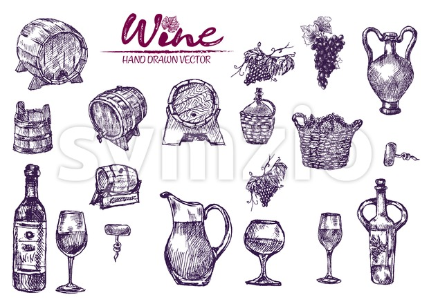 Digital color vector bundle set detailed line art vintage purple wooden wine barrels stacked hand drawn illustration set. Thin artistic pencil Stock Vector