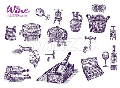 Digital color vector bundle set detailed line art vintage purple wooden wine barrels stacked hand drawn illustration set. Thin artistic pencil Stock Vector