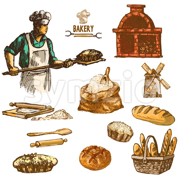 Digital color vector detailed line art round bread, baker wheat an red brick oven with woods prepared for fire hand drawn illustration set. Vintage Stock Vector