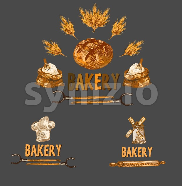 Digital color vector detailed line art golden bakery sign with wheat and oven forks hand drawn set. Thin pencil artistic outline. Vintage ink flat, Stock Vector