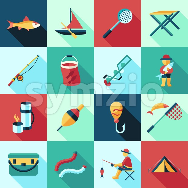 Digital vector fishing activity set collection decoration objects color simple flat icon with holding net or rod, isolated Stock Vector