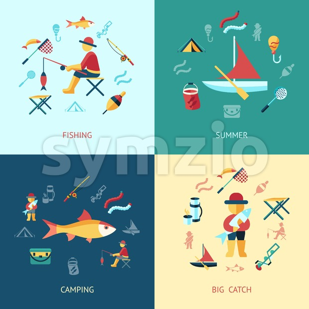 Digital vector fishing activity set collection decoration objects color simple flat icon with holding net or rod, summer camping, isolated Stock Vector
