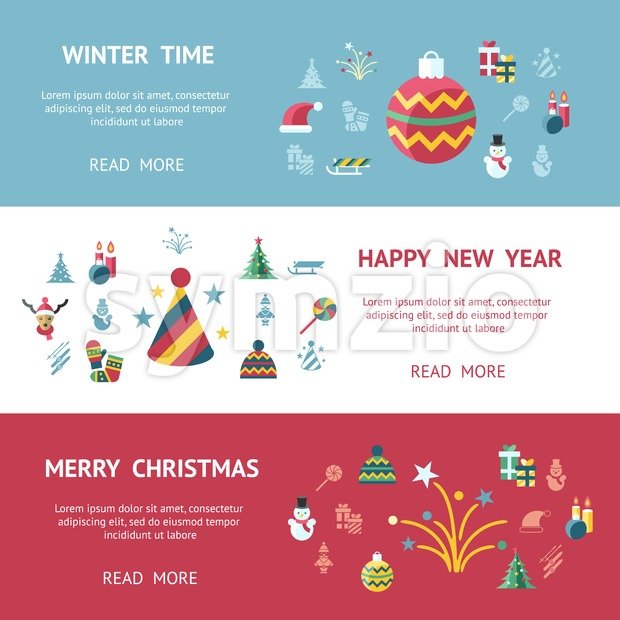 Digital vector merry christmas and new year holidays infographics set collection decoration objects color simple flat icon with fir tree, isolated Stock Vector