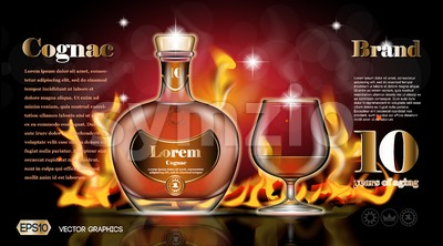 Cognac bottle and glass Stock Vector