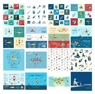 Digital vector fishing activity bundle set collection decoration objects color simple flat icon with holding net or rod, isolated Stock Vector