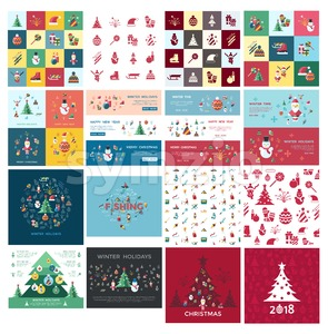 Digital vector christmas and new year holidays bundle set collection decoration objects color simple flat icon with fir tree, isolated Stock Vector