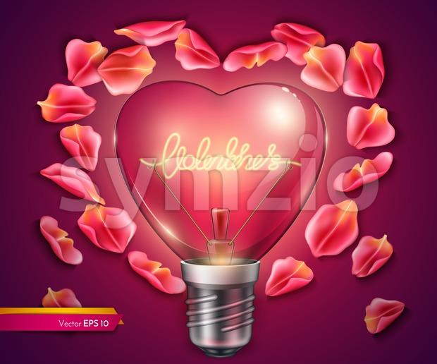 Light bulb heart shaped. Vector realistic 3d illustration. Valentine day bright card rose petals decor Stock Vector