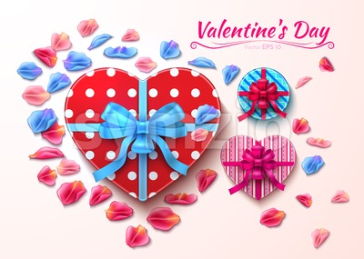 Valentine day gift boxes heart shape Vector realistic illustration Stock Vector