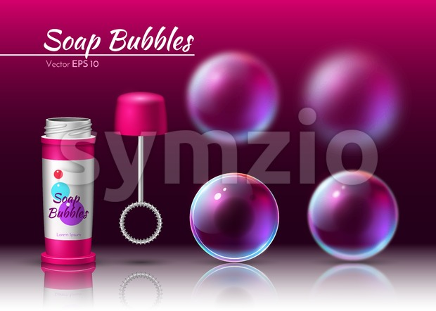 Transparent soap bubbles Vector realistic tube. 3d Sphere volumed bubble Stock Vector