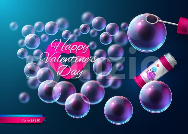 Valentine day soap transparent bubbles Vector. Realistic heart shape card illustration Stock Vector