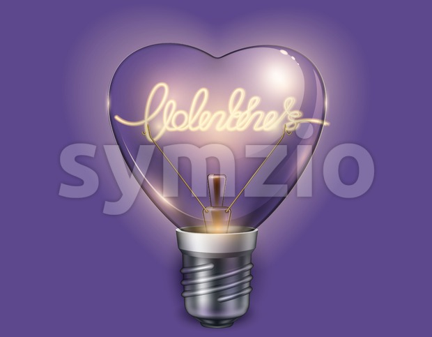 Light bulb heart shaped on violet background. Vector realistic 3d illustration. Valentine day card Stock Vector