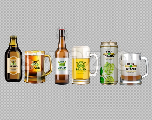 Vector Realistic glass and metallic white and brown beer bottle and glasses collection set. Brand packaging template. Logo designs with hop flowers. Stock Vector