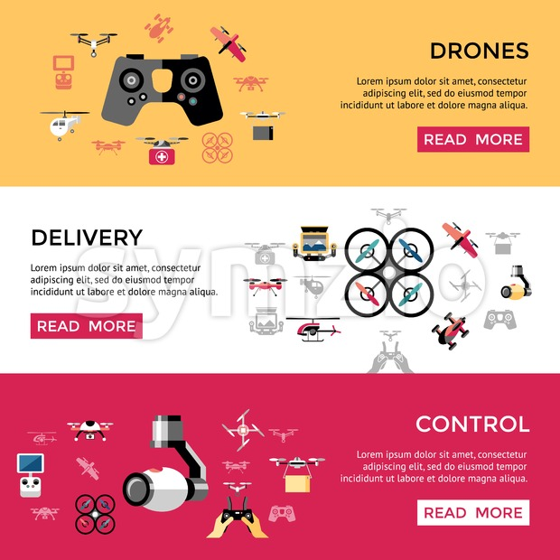 Digital vector flying drone control delivery objects color simple flat icon set collection, isolated Stock Vector