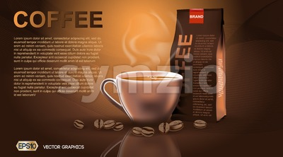 Realistic hot coffee cup and package Mockup template for branding, advertise product designs. Fresh steaming drink in a mug with roasted beans Stock Vector