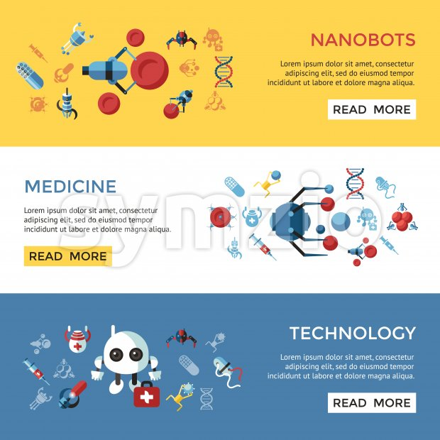 Digital smart medical nano robots concept objects color simple flat icon set collection, isolated healthcare, dna pills and implants infographics Stock Photo