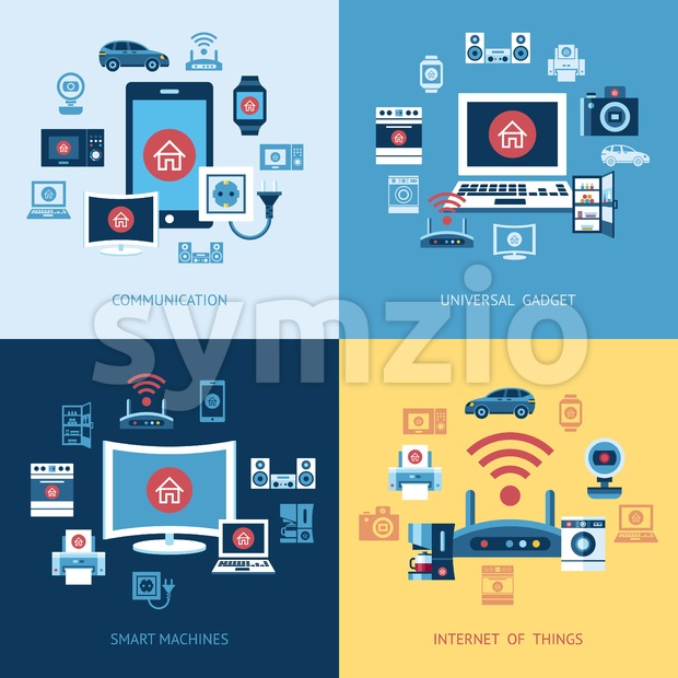 Digital vector red internet of things control infographics concept objects color simple flat icon set collection, isolated Stock Vector