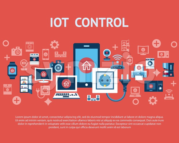 Digital vector red internet of things control concept objects color simple flat icon set collection, isolated Stock Vector