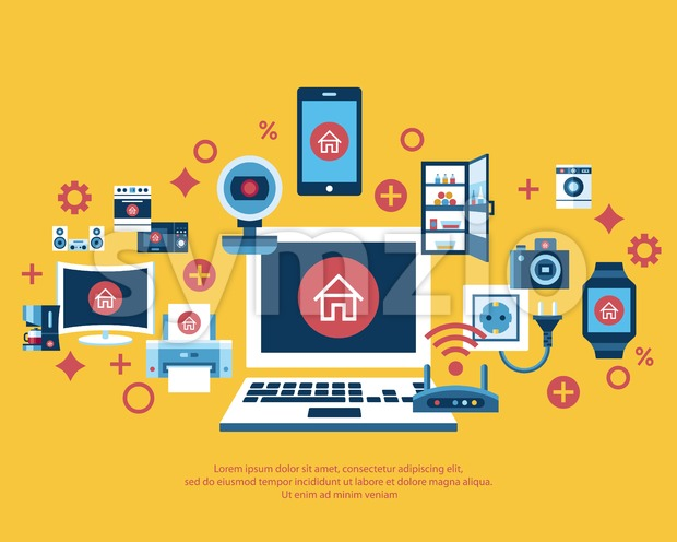 Digital vector yellow internet of things concept objects color simple flat icon set collection, isolated Stock Vector