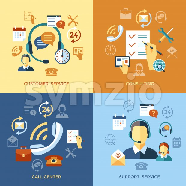 Digital call center and customer support objects color simple flat icon set collection, isolated Stock Photo