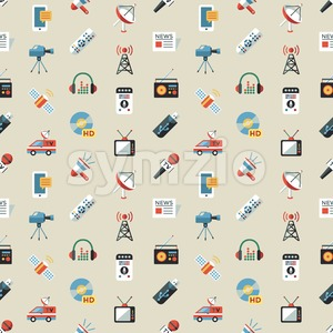 Digital mass media objects color simple flat icon set collection, isolated seamless pattern Stock Vector