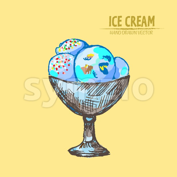 Digital vector detailed line art delicious ice cream in bowl hand drawn retro illustration collection set. Thin artistic pencil outline. Vintage ink Stock Vector