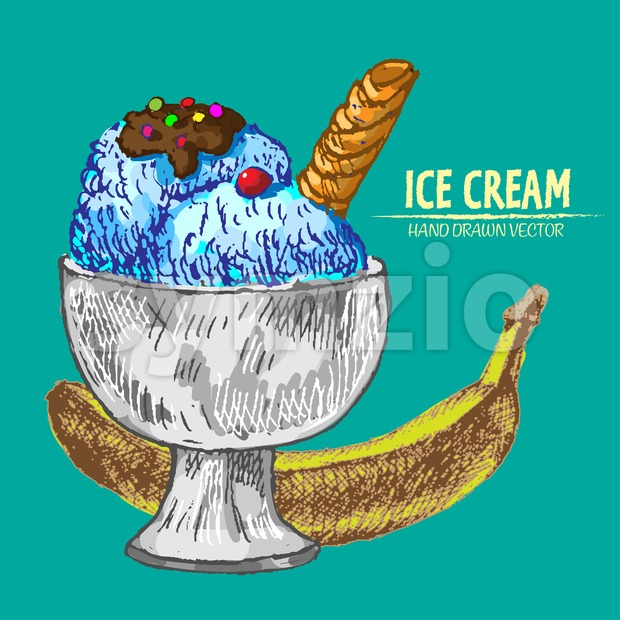 Digital vector detailed line art sundae ice cream banana in glass bowl hand drawn retro illustration collection set. Thin artistic ...