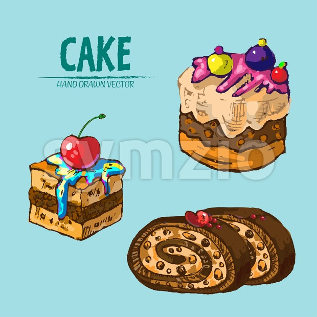 Digital vector detailed line art slices of cake roll with fruits hand drawn retro illustration collection set. Thin artistic pencil ...