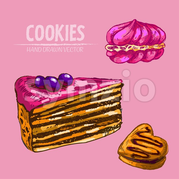Digital vector detailed line art cakes slices with fruits with hand drawn retro illustration collection set. Thin artistic pencil outline. ...