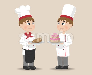Men cooking chief Vector. Cartoon characters. cake and meat gourmet menu Stock Vector