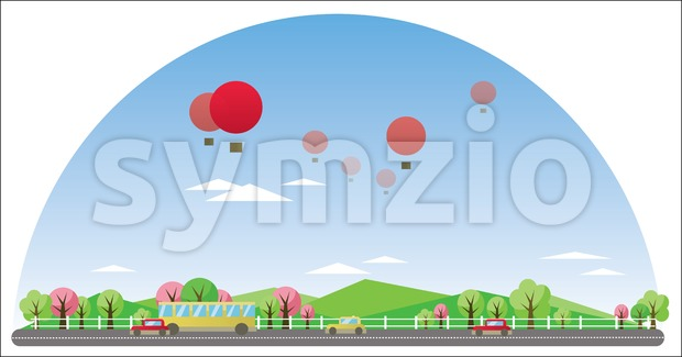 Digital vector abstract background with village Stock Vector