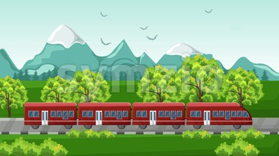 Train traveling Vector. Red vehicle on Beautiful green background Stock Vector